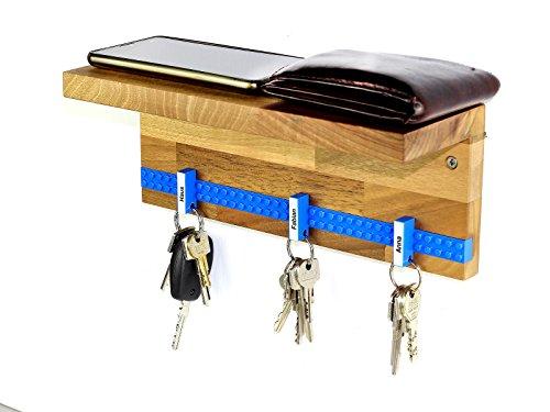 Schlüsselbrett Play 203 Holz | Schlüsselboard mit Ablage für die ganze Familie | Schlüsselleiste Nussbaum mit 6 Schlüsselanhängern zum selbst beschriften | inkl. Schrauben und Dübel | blau -