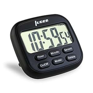 LUOEM Timer da Cucina, Magnetico Digitale 24 Ore Timer da Cucina con Ampio Display LCD e Allarme Timer Anello Forte