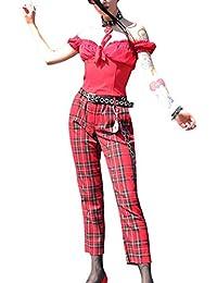 Coton Pantalons Écossais De Femmes De Haute Taille De Pantalon Décontracté 94dcc03222e