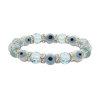 KALIFANO Evil Eye Gorgeous Glass Bracelets-Turquoise & White