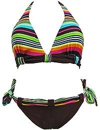 Maillot de bain femme 2 pièces bikini triangle marron et multicolore