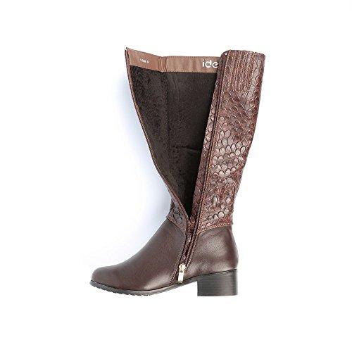 Ideal Shoes-Stiefel, bi-Material, mit Teil style reptile Leanna Braun - braun