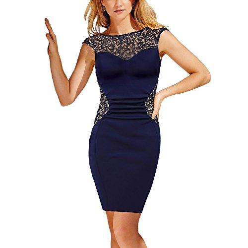 CoCo Fashion Damen Etuikleid Kurzarm Spitzenkleid Bodycon Tunikakleid Pencil Kleider Rundhals Ärmellos (EU38-40)