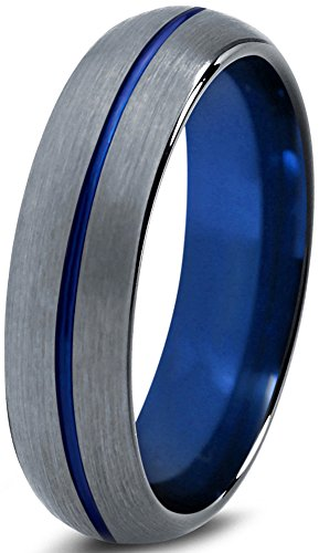Tungsten Wedding Band Ring 6mm for Men Women Blue Black Grey Dome Brushed Polished Size 58 (18.5) -