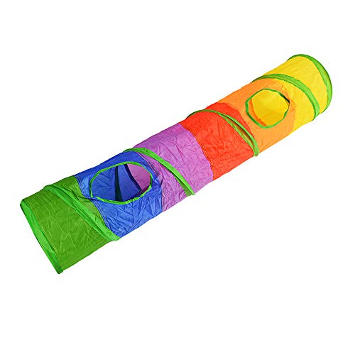 F.lashes Katze Spieltunnel Faltbare Rollen Puzzle Fuer Katze Regenbogentunnel Katzespielen Spielzeug Katze Kanal mit 2 Löchern