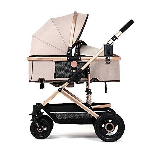 CCJW Baby Cart High Landscape Light Kann Sitzen Und Liegen Falten Suspension Vier Runden Baby Kinderwagen Trolley Babybett -