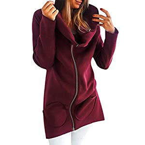 Toasye Damen Einfarbig Langarm Hoodie Pullover Top Warme Jacke Frauen Feste Lange Hülsen Taschen Beschichten Reißverschluss Wolljacken Oberseiten Top