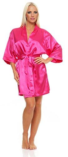 Damen Morgenmantel kurzer Kimono aus Satin Bademantel Nachtwäsche Satinoptik Nachtmantel Seidenrobe Pink M