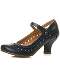 43dac9f1a88 Womens Ladies mid Heel Cut Out Heart Vintage Mary Jane Strap pin up 50s 60s  Court