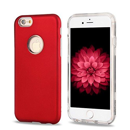 iphone 6 Plus Hülle, iphone 6s Plus Case Silber, Ultra Dünn TPU und PU Leder Handy Hülle für iphone 6 6s Plus, E-Lush Glitzer Schön Einfarbig Muster Weich Silikon Handyhülle Schale Schutzhülle Ultradü Rot