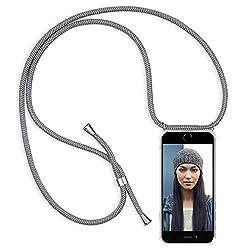 """ZhinkArts Handykette kompatibel mit Apple iPhone 7 / iPhone 8-4,7"""" Display - Smartphone Necklace Hülle mit Band - Schnur mit Case zum umhängen in Grau"""