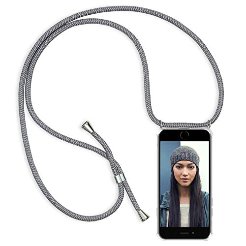 "ZhinkArts Handykette kompatibel mit Apple iPhone 7 / iPhone 8-4,7"" Display - Smartphone Necklace Hülle mit Band - Schnur mit Case zum umhängen in Grau"