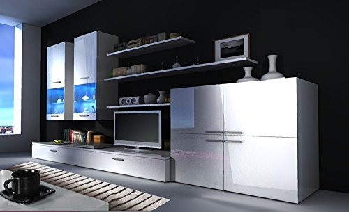 Opiniones selectionhome mueble comedor moderno salon con for Mueble salon blanco brillo