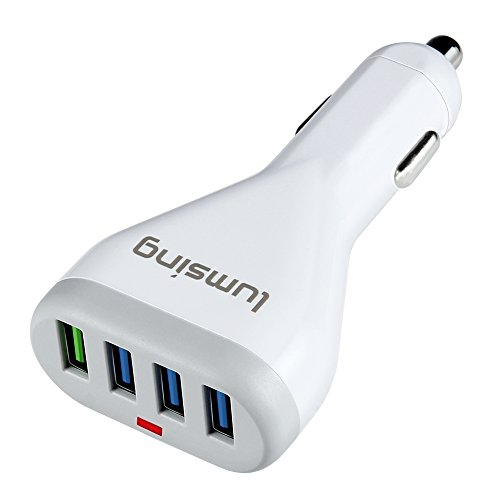 Caricatore-per-Auto-Lumsing-4-Porte-USB-con-Tecnologia-Quick-Charge-30-per-Iphone-7-6s-Plus-Ipad-Pro-Air-2-Mini-Galaxy-S7-S6-Edge-Plus-Note-5-4-LG-Nexus-HTC-etc-Bianca