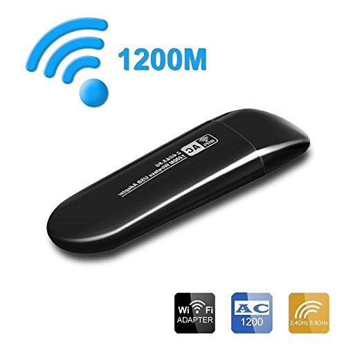 Iyowin Usb Wifi Dongle AC 1200Mbps, Usb Adaptador Wifi Receptor Windows 10, antena integrada con doble banda de alta velocidad de transmision. (5.8G o 2.4G)
