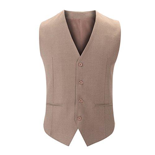 DPCER. Mode-Klassiker High-End-Business-Herren-Anzug Weste V-Ausschnitt Anzug Weste Brown