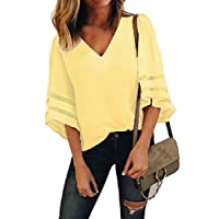 Fieer Women's Patched Plus-size Hollow Out Mesh Solid-Colored Blouses Ladies Tops Yellow 2XL