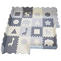 """Large Soft Foam Baby Play Mat - Premium Grey Interlocking Floor Tiles, Extra Thick (0.80"""") 