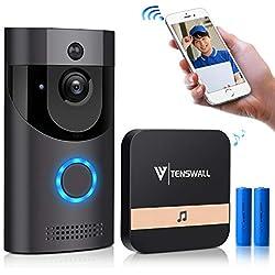 Tenswall Sonnette vidéo, Caméra de sécurité WiFi HD 720P, Système bidirectionnel de Conversation et de vidéo en Temps réel,Vision de Nuit Infrarouge Multifonction intégrée(avec Batterie)