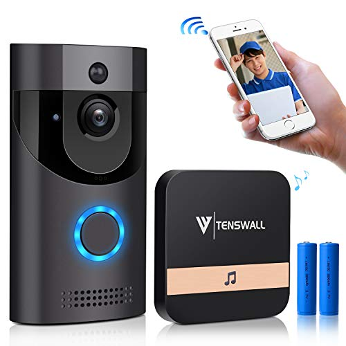 TENSWALL Wireless Video Doorbell, 720P HD Wi-Fi Security Camera, Real-Time Two-Way Talk and Video, Support PIR Motion Detection, IR Night Vision, App Control for iOS and Android (Batteries Included)