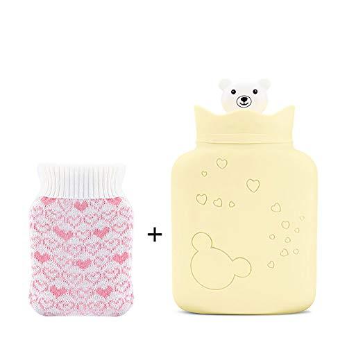 Silikon-wärmflasche mit deckel für kinder, Warmwasser-tasche zur schmerzlinderung microwavable,Erwärmen und refreezable cold pack-Gelb
