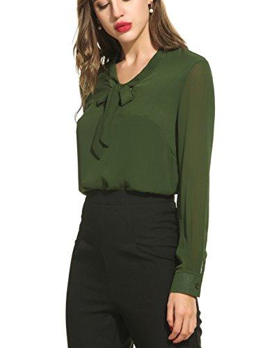 ACEVOG Damen Bluse 3/4 Ärmel Beiläufiger Chiffon Loose Fit Shirt Tops mit Rundhals C Armeegrün