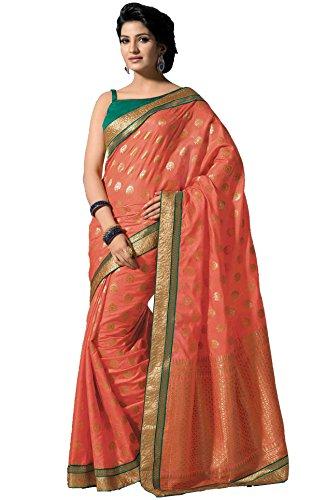 Sudarshan Silks -  Sari  - stile impero - Donna rosa Taglia unica