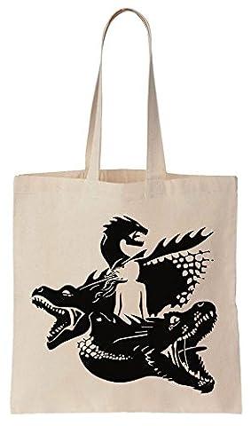Daenerys With Her Three Dragons Only Children Cotton Canvas Tote Bag Baumwollsegeltuch-Einkaufstasche