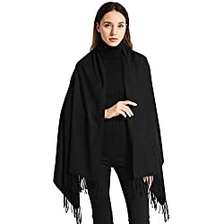 EASE LEAP Bufanda Mujer con Tacto Cachemira Fiesta Chal para Boda Suave Pashmina 200 * 70cm/(Negro)