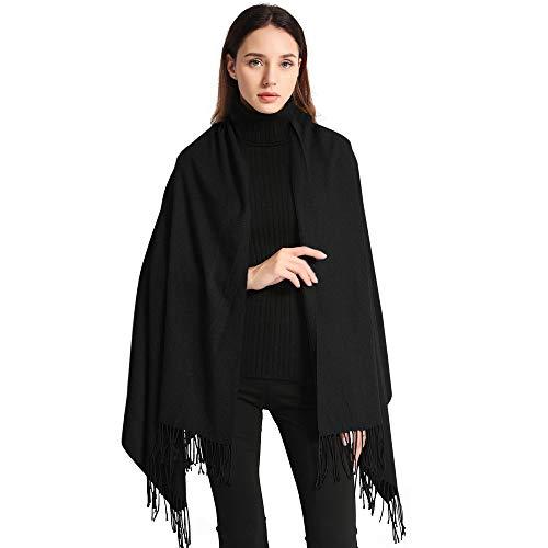 EASE LEAP Bufanda Mujer con Tacto Cachemira Fiesta Chal para Boda Suave Pashmina 200 * 70cm/Negro