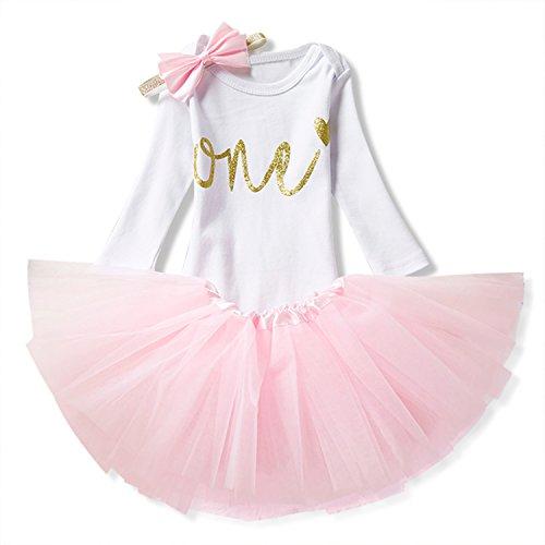 Mädchen Shirt Geburtstag (NNJXD Mädchen Newborn 1. Geburtstag 3 Stück Outfits Strampler + Tutu Kleid + Stirnband Größe (1) 0-12 Monate Rosa)