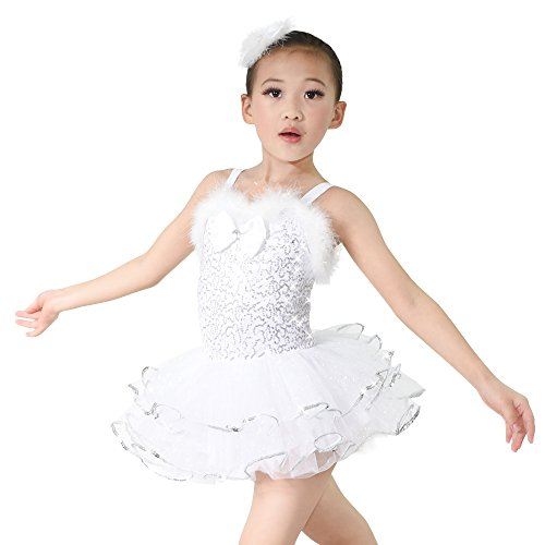 (MiDee Schöne Mädchen Hemdchen, Oder So Was Pailletten Bowknot Ballett Tanzen Kostüm - Kleid (Silber, LC))