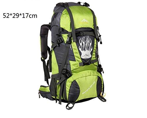 LQABW Outdoor-Nylon Oxford Tuch Wasserdichtes Haltbares Rucksack-Spielraum Klettern Leichter Rucksack Breatherdbebensicher Reduzierte Tasche 55L Green