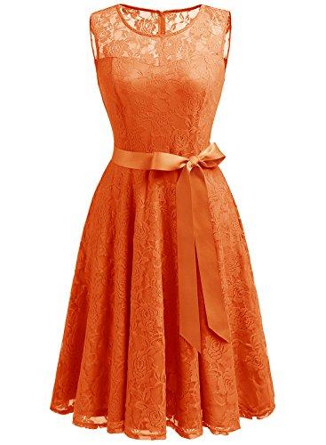 Dressystar Robe femme soirée/bal de vintage dentelle sans manches avec une ceinture Orange