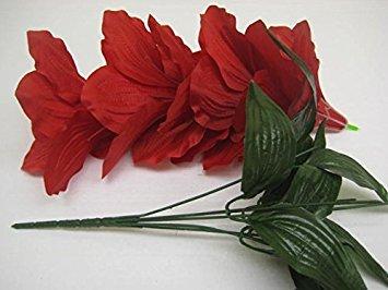 6Buchsen rot Amaryllis Kunstblumen Seidenblumen Blumenstrauß 40,6cm 6–647rd