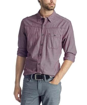 edc by ESPRIT Chemise de travail Col chemise classique Manches 3/4 Homme - Violet - Violett (507 plum purple) - X-Large