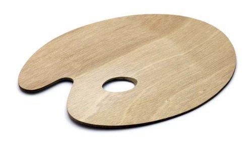 Artina Holz Malpalette Palette Rund 25x30 cm Farb-Mischpalette mit Griffloch für Kunst & Malen