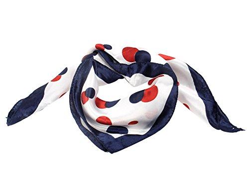 Weiß Rot Punkte Bedruckt Quadrat Geformt Halstuch Halstuch für Damen - Damen, Rot,Weiß,Marineblau, Einheitsgröße