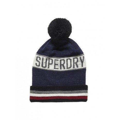 Superdry Super Stripe Logo Beanie One Nvy Marl