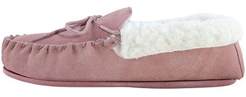 Lambland Chaussons mocassins en daim véritable et peau de mouton pour femme Avec semelle PVC Rose - Rose pâle