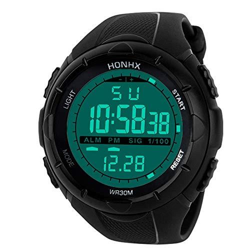 Orologio sportivo da uomo Orologio da polso sportivo analogico digitale militare in silicone LED da uomo Orologio (Colore : Black)