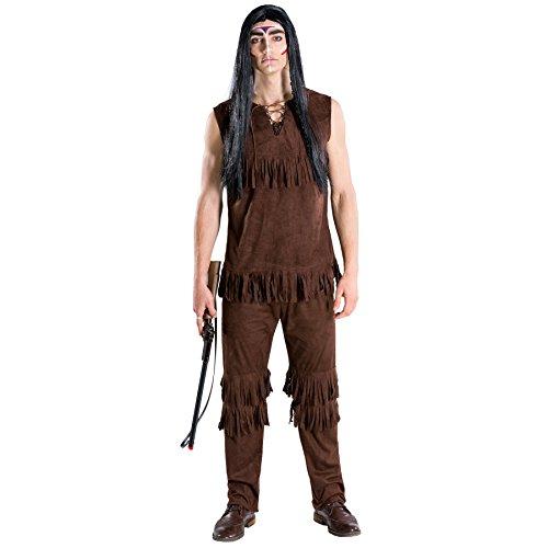 TecTake dressforfun Herrenkostüm Häutpling | Kostüm + Bindeband | Indianer Indianerin Verkleidung (M | Nr. 300682) (Kinder Abenteuer Mal Kostüm)