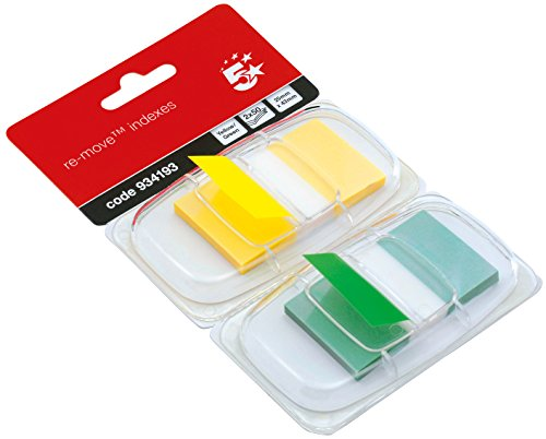 5 Star 25mm Index Flags - Yellow/Green (Pack of 2)
