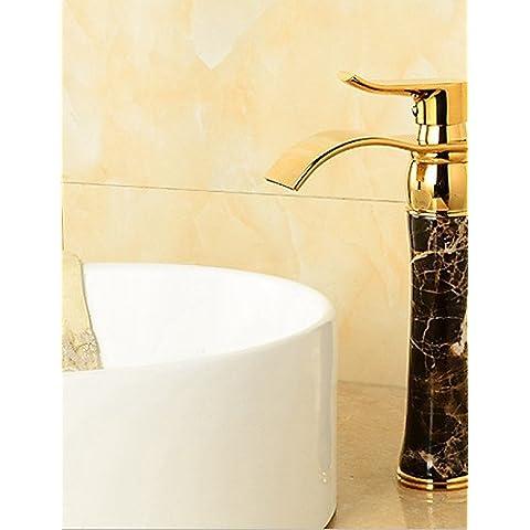 Acabado Dorado de latón sólido cuerpo de piedra de mármol frío con un asa y el grifo de agua caliente baño bain cascada simple toque clásico y lujoso y elegante diseño
