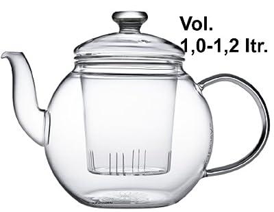 Teaposy récolte Théière avec filtre en verre et couvercle en verre 1,2 L verre Borosilicate résistant à la chaleur, Passe au lave-vaisselle, idéal pour les feuilles de thé en vrac