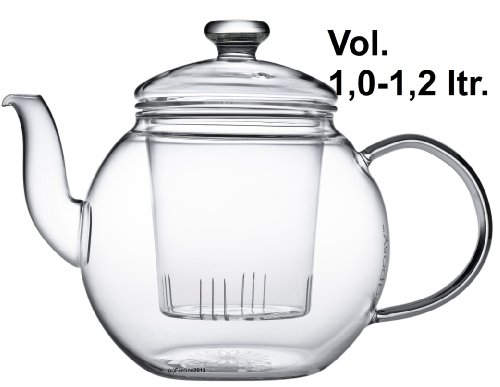 Teaposy Harvest Hochwertiger Teekrug 1,2 L mit Glasfilter und Glasdeckel, aus hochwertigem Borsilikatglas, hitzebeständig und spülmaschinengeeignet, ideal auch für Teeblumen, Teerosen