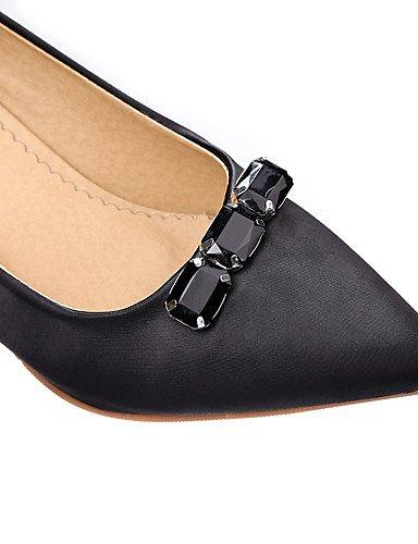 WSS 2016 Chaussures Femme-Bureau & Travail / Habillé / Décontracté-Noir / Violet / Rouge-Talon Aiguille-Talons / Confort / Bout Pointu-Talons-Satin black-us7.5 / eu38 / uk5.5 / cn38