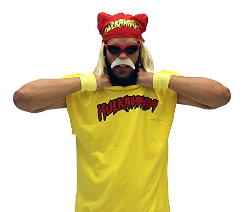 Hulk Hogan Hulkamania Complete Costume Set (Adult Medium, Red Sunglasses/Yellow Bandana)