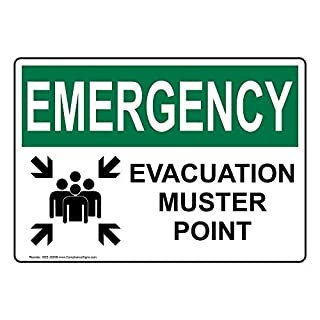 AmyyEden Notfall Evakuation Muster Point Aluminium Metallschild 20,3 x 30,5 cm