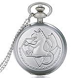 VIOPEX Reloj de Bolsillo Diseño de Moda Full Metal Alchemist Dull Polish Quartz Pocket Watch Reloj Colgante Fob Chain Hombres Mujeres